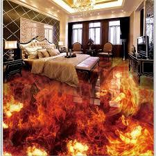wellyu <b>Custom floor</b> decoration <b>painting 3D</b> обои fire burning three ...