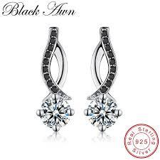 [<b>BLACK AWN</b>] <b>Genuine 925</b> Sterling Silver Black Spinel Stone ...