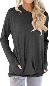 Shawhuwa <b>Womens</b> Long Sleeve Spring Thin Sweatshirt Loose <b>T</b> ...