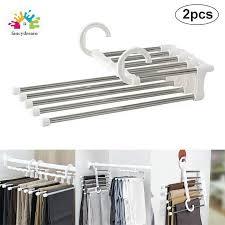 fancydream <b>2 Pcs</b> Pants Rack Shelves 5 in 1 <b>Multifunctional</b> Storage ...