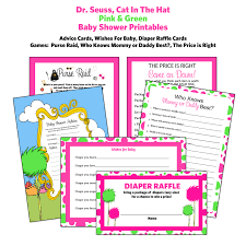 seuss baby shower games diaper raffle tickets advice cards hot pink dr seuss baby shower games diaper raffle tickets advice cards hot pink
