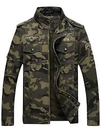 Springrain <b>Men's Casual</b> Slim Stand Collar <b>Tooling Camouflage</b> ...
