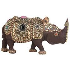 SHIVIKA <b>Wooden Rhino</b> with Metal Jewellery Work Showpiece for ...