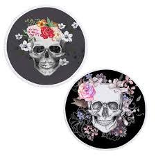 <b>Round</b> Tassel <b>Digital Printing Round Beach</b> Towel Flowers Skull ...