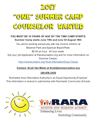 rara > info > job opportunities one summer camp counselor needed