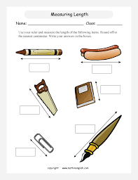 Use your ruler and measure the length of the some items. Round off ...printable primary math worksheet