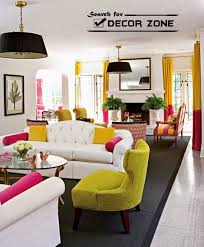 white living room design with decorations in bright color combination bright colorful home
