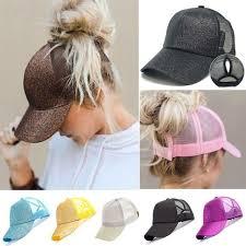 <b>2019 Fashion</b> Women Ponytail <b>Baseball</b> Cap Sequins Glitter Messy ...
