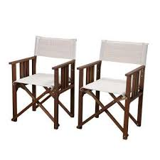 teak patio dining armchair brown textile director rio eucalyptus chairs with off white canvas cover set of