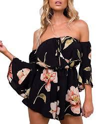 Relipop Women's Summer Floral Off Shoulder 3/4 ... - Amazon.com