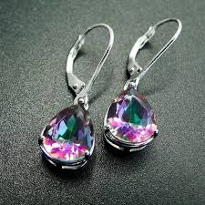 <b>DJ CH</b> Pear Cut 8*10mm Fire Rainbow Mystic Topaz Drop <b>Earrings</b> ...