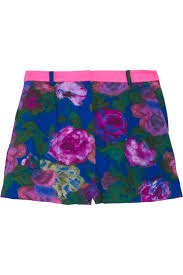 Purple <b>Floral</b>-print crepe shorts | Sandro | NET-A-PORTER