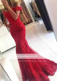 <b>Glamorous</b> Red Lace Mermaid <b>Appliques</b> Off-the-shoulder Evening ...