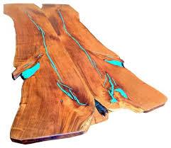 wood slab dining table beautiful: freeform mesquite wood dining table turquoise inlay dining tables