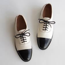 <b>Women genuine leather oxford</b> shoes round toe black white lady ...