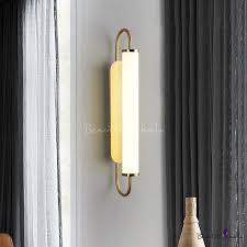 Brass Tube Wall Mount Sconce <b>Post Modern Milky</b> Glass LED Wall ...
