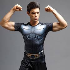 <b>Batman</b> Short Sleeve <b>T</b>-<b>shirt Tight Elastic</b> Sports Fitness Activewear ...