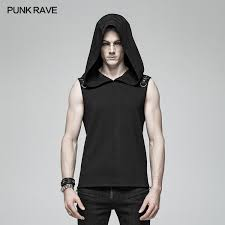 Dark <b>Punk Men</b> Sleeveless <b>T</b>-<b>shirt</b> Hooded Vest