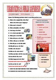 English Worksheets  WRITING A FILM REVIEW  GUIDELINE