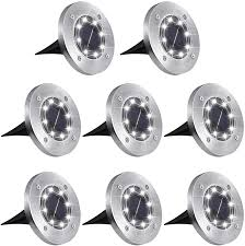 Aogist <b>Solar</b> Ground Lights, <b>8 LED</b> Garden Lights Patio Disk Lights ...