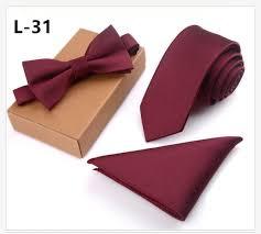 <b>32 Colors 8cm</b> Men's Tie Bow Tie Pocket Square Suit Necktie Set ...