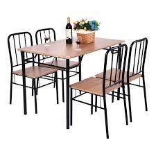 piece dining set wood metal kitchen