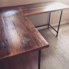 l shaped desk reclaimed wood desk pipe legs shaped wood desks home