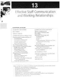 effective staff communication and working relationship