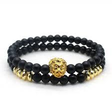 <b>Hot sale</b> 2pc/sets Natural Stone Bracelet Men <b>Classic Simple</b> Lion ...