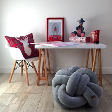 Amazing Kids room with stylish home decor and floor knot <b>pouf</b> ...