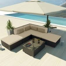 brown wicker outdoor furniture dresses: uduka outdoor sectional patio furniture espresso brown wicker sofa set porto  light beige all weather