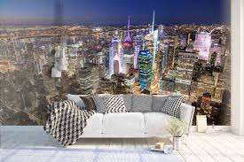 <b>3D Bustling</b>, Night view, <b>City Wallpaper</b>, Removable Self Adhesive ...