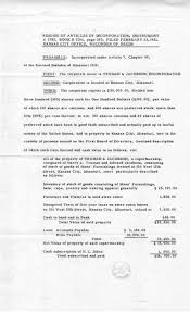 truman library resume of articles of incorporation 23 resume of articles of incorporation 23 1921 jacobson papers truman jacobson haberdashers file legal papers