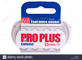 a packet of pro plus caffeine tablets for staying awake on a white a packet of pro plus caffeine tablets for staying awake on a white background