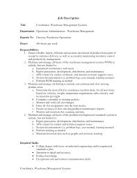 sample resume warehouse warehouse supervisor job description    gallery images inventory controller resume