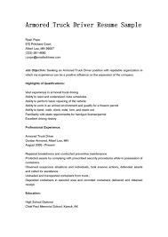 armored truck driver resume sample resume objectives eager it