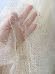 <b>5 Yards Exquisite Soft</b> Champagne Tulle With Gold Dotted Glitter for ...