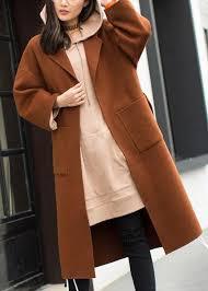 <b>2019</b> plus size medium length <b>coat</b> Notched <b>coat</b> brown tie waist ...