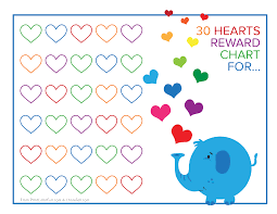 elephant and rainbow hearts reward chart printable reward charts these two landscape reward charts feature dinosaurs and either pink or blue stripes you or your child can color in the stars as each reward