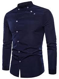 Long Sleeve Oblique Button Design Stand Collar Shirt - NAVY <b>BLUE</b> L