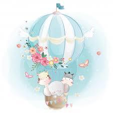 <b>Cute animals</b> in the <b>air balloon</b> Vector | Premium Download