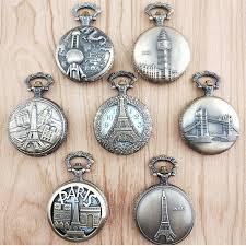 <b>100pcs</b> Vintage Bronze Paris Tower Quartz Pocket Watch <b>Hollow</b> ...