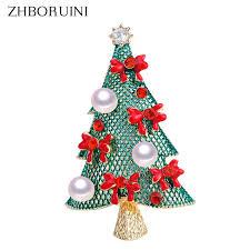 <b>ZHBORUINI 2019 Natural</b> Pearl Brooch Christmas Tree Pearl Bre...