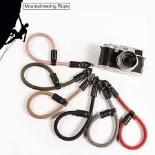 Climbing Nylon rope Genuine <b>Leather Camera Wrist</b> Strap <b>Hand</b> ...