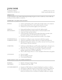 fashion internship resumes template fashion internship resumes