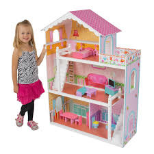 large childrens wooden dollhouse fits barbie doll house pink with furniture brand baby wooden doll house