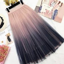 Mesh Long Tulle <b>Skirts</b> Women Spring Summer <b>Gradient</b> Korean ...