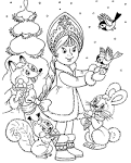 Новогодний пазл раскраска