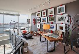 you need not add too much red to brighten the home office in gray design add home office
