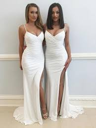 <b>Sheath Spaghetti Straps</b> Sweep Train Ruched <b>White</b> Split Prom Dress
